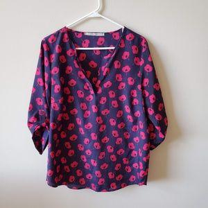 41 Hawthorne Blue & Pink Poppy Print Blouse
